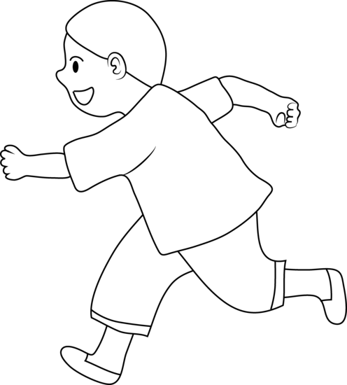 Coloring Page of Little Kid Running