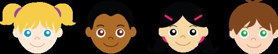 Diverse School Kids Faces