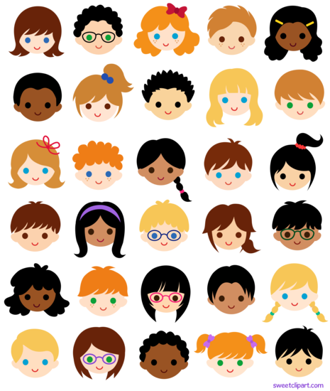 30 Kids Faces in School Classroom - Free Clip Art