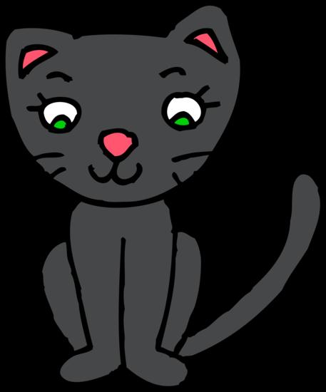 Cute Black Kitty Cat Clipart