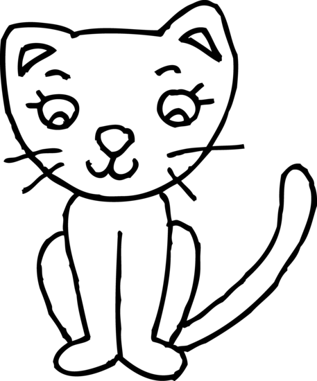Cute Kitty Cat Coloring Page