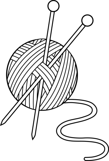 Person Knitting Clipart : Black and white knitting set free clip art