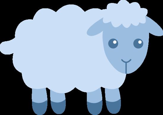 Cute Blue Sheep Free Clip Art