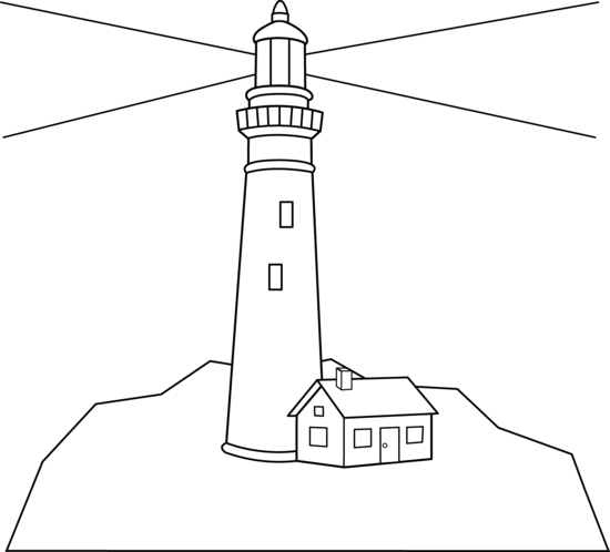 Colorable Lighthouse Scene - Free Clip Art