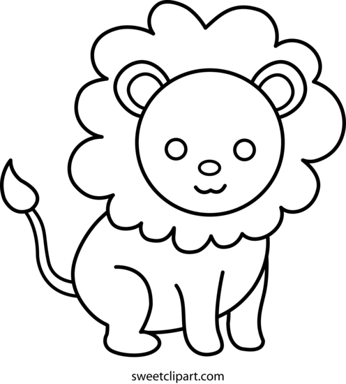 Cute Lion Coloring Page - Free Clip Art