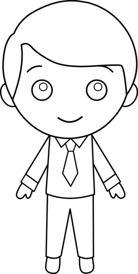 Colorable Little Guy in Suit