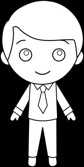 Little Guy In Suit Line Art Free Clip Art