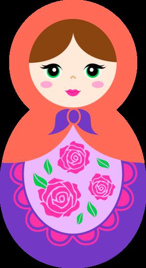 Cute Orange and Purple Matryoshka Doll