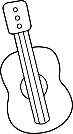 Cute Mini Guitar Coloring Page - Free Clip Art