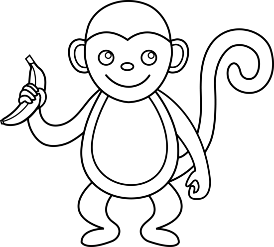 Line Drawing Monkey : Cute monkey line art free clip