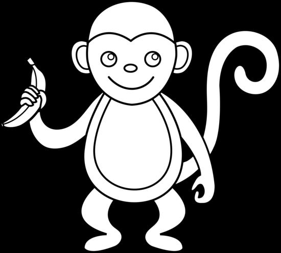 Line Art Monkey : Cute monkey line art free clip