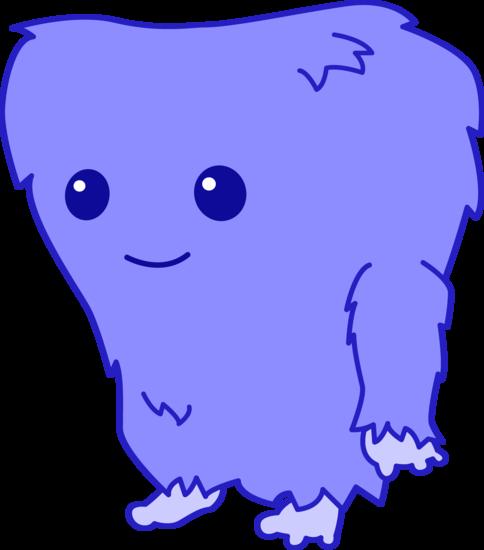 Cute Fuzzy Blue Monster