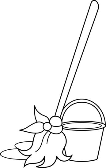 Mop and Bucket Coloring Page