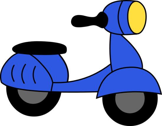 Little Blue Motor Scooter Clipart