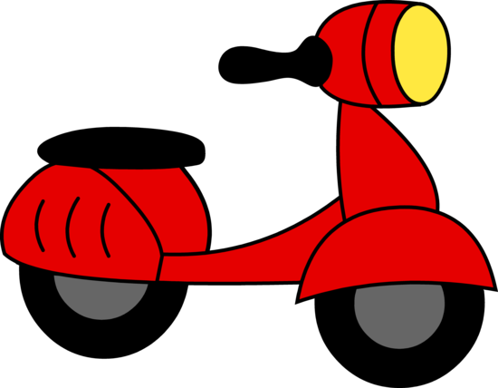 Little Red Motor Scooter Clip Art