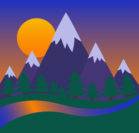 Mountains and Forest Sunset Landscape - Free Clip Art