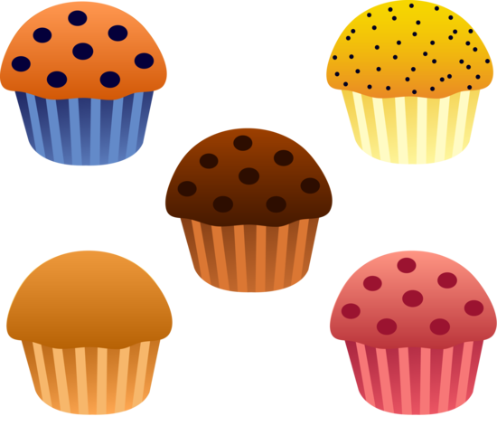 Set of Five Bakery Muffins