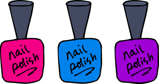 Pink Blue and Purple Nail Polish