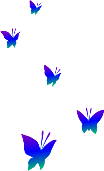 Colored Butterfly Silhouettes