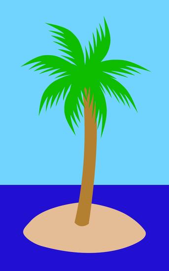 Single Palm Tree on Small Island