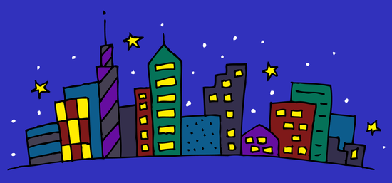 Cute Clip Art of City at Night