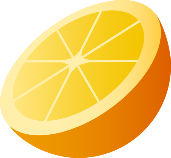 One Half Slice of Orange Fruit