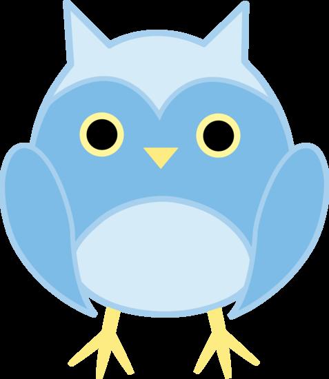 Cute Blue Owl - Free Clip Art