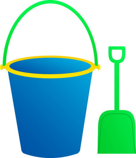 Blue Bucket and Green Shovel