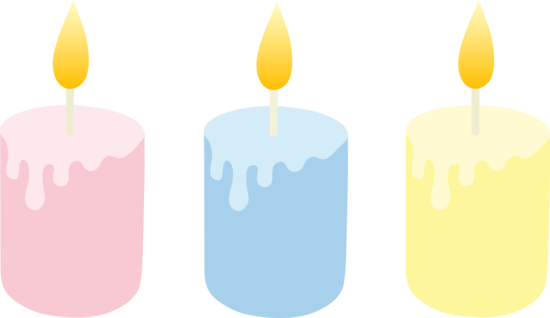 Set of Three Cute Lit Candles