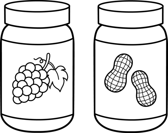 Peanut Butter and Jelly Line Art - Free Clip Art