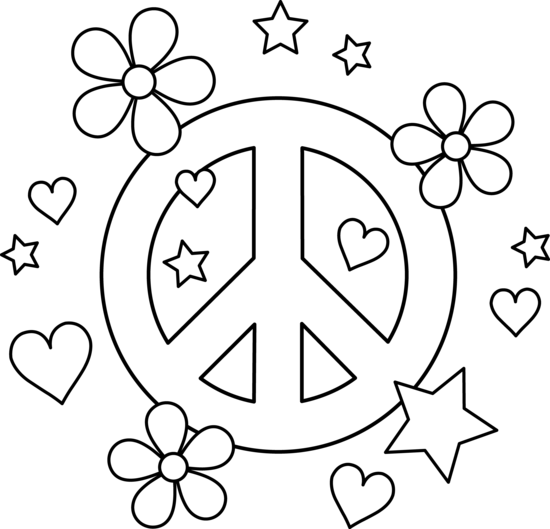 Colorable Peace Sign Design - Free Clip Art