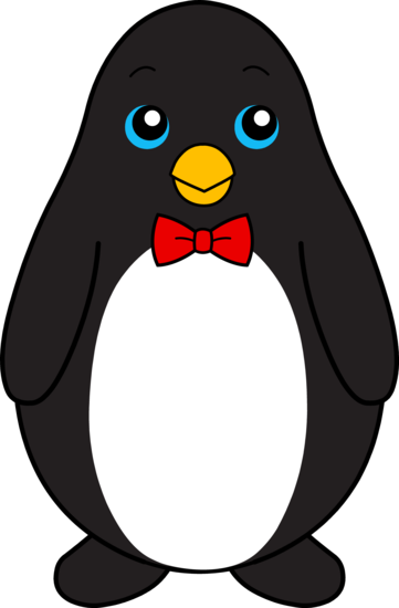 Cute Black Penguin With Red Bow Tie