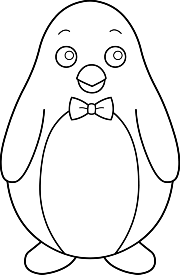Colorable Penguin With Bow Tie - Free Clip Art