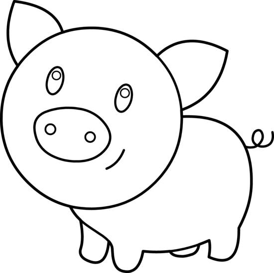 Cute Pig Coloring Page - Free Clip Art