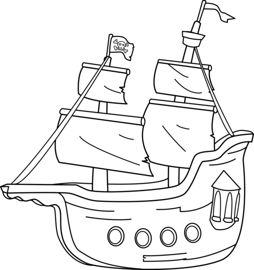 pirate ship coloring page free clip art