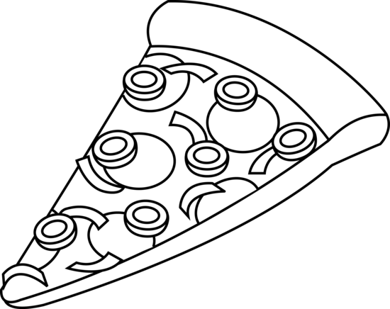 Pizza Black and White Outline