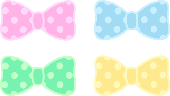 Cute Polka Dot Pastel Bows Free Clip Art