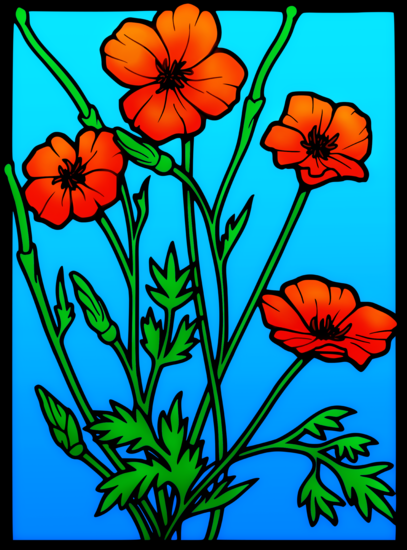 Red Poppies Public Domain Clipart