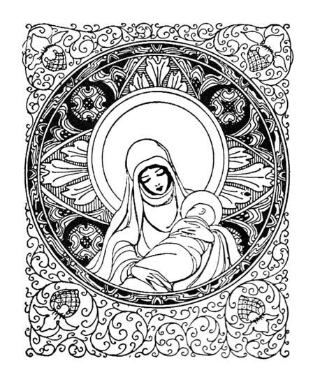 Mary and Baby Jesus Clip Art
