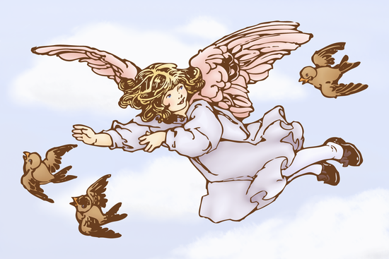 Cute Vintage Angel with Birds
