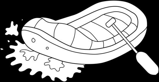 White Water Rafting Line Art