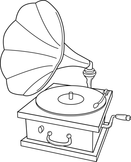 Coloring Book Vinyl : Record Player Coloring Page Free Clip Art