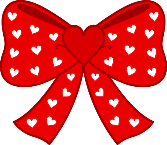 Cute Red Bow with Hearts