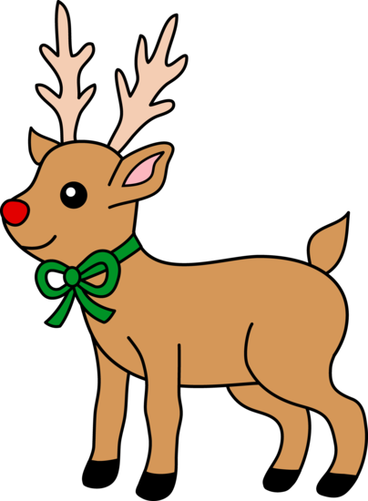 Cute Red-Nosed Reindeer Clip Art