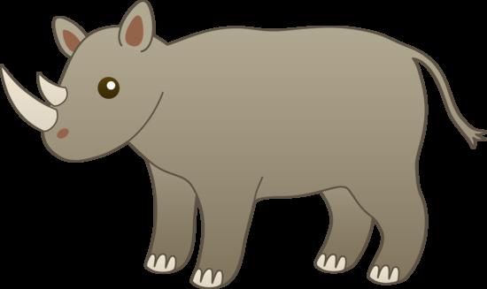 Cute Grey Rhino Clip Art