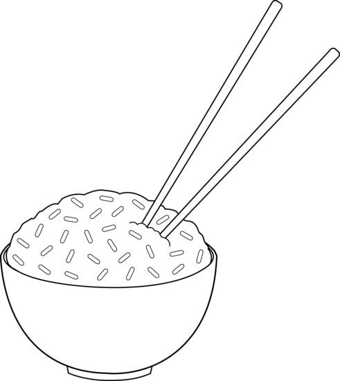 Line Art of Rice With Chopsticks - Free Clip Art