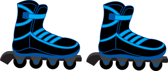 Blue and Black Rollerblades