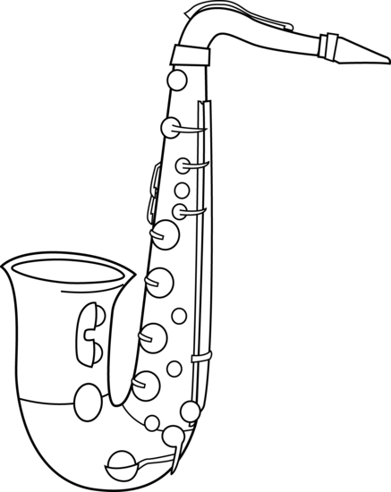 black and white saxophone clip art