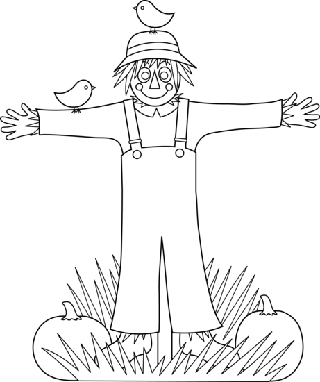 Cute Scarecrow Coloring Page - Free Clip Art