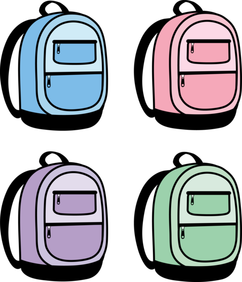 Blue Pink Purple and Green Back Packs